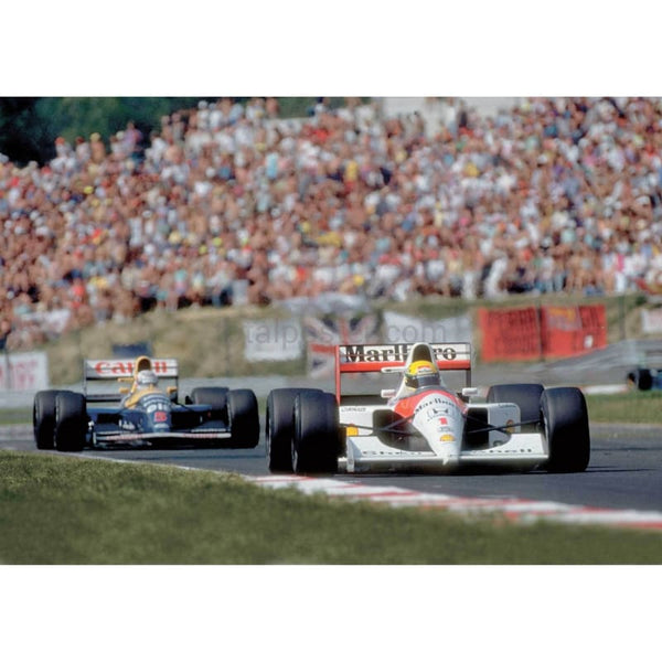 Ayrton Senna duels with Nigel Mansell at the Hungarian F1 Grand Prix TotalPoster