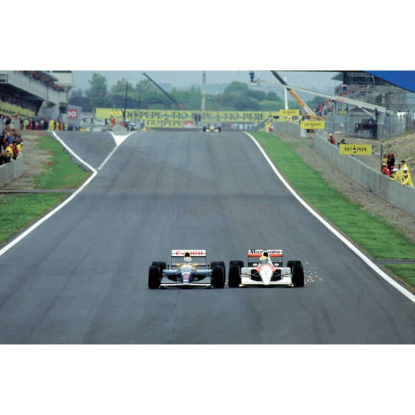 Ayrton Senna and Nigel Mansell battle it out during the Spanish Grand Prix | TotalPoster