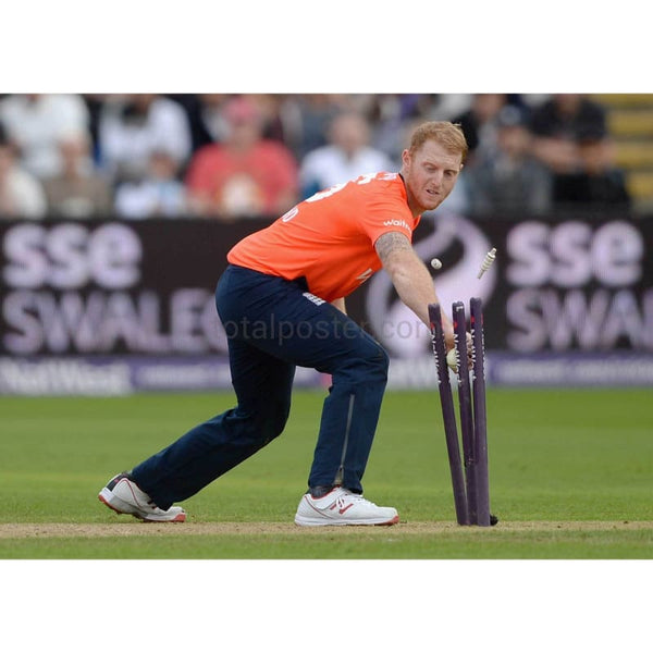 Ben Stokes runs out Matthew Wade during the NatWest T20 International match between England and Australia at SWALEC Stadium in Cardiff | TotalPoster