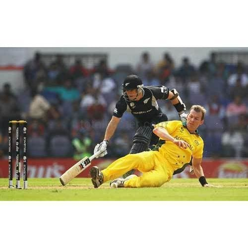 Brett Lee tries to run out Brendon McCullum during the 2011 ICC World Cup Group A match between Australia and New Zealand at Vidarbha Cricket Association Ground | TotalPoster