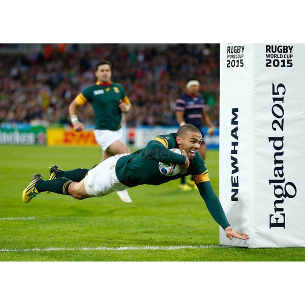 Bryan Habana goes over to score his second try and South Africa's sixth during the 2015 Rugby World Cup Pool B match between South Africa and USA at the Olympic Stadium | TotalPoster