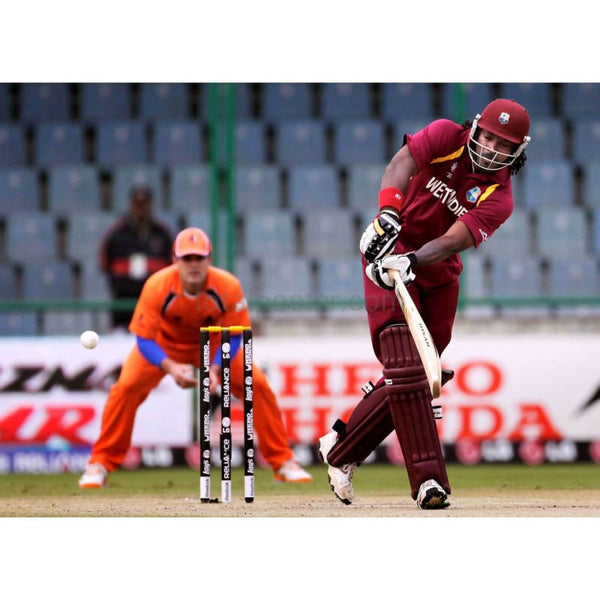 Chris Gayle bats during the 2011 ICC World Cup group B match between Netherlands and West Indies at Feroz Shah Kotla stadium | TotalPoster