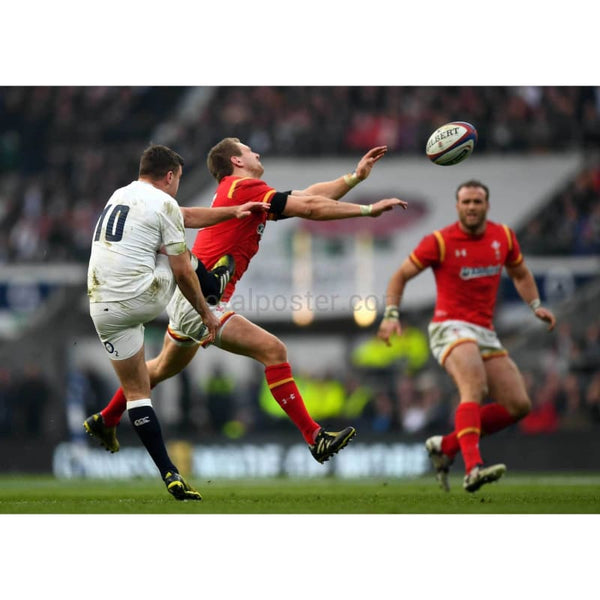 Dan Biggar charges down a kick by George Ford leading to his try during the RBS Six Nations match between England and Wales at Twickenham Stadium | TotalPoster
