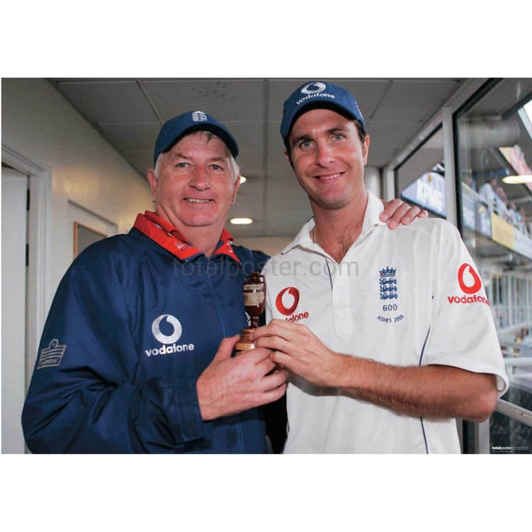Duncan Fletcher and Michael Vaughan after regaining the Ashes and victory in the 5th npower test against Australia at the Oval | TotalPoster