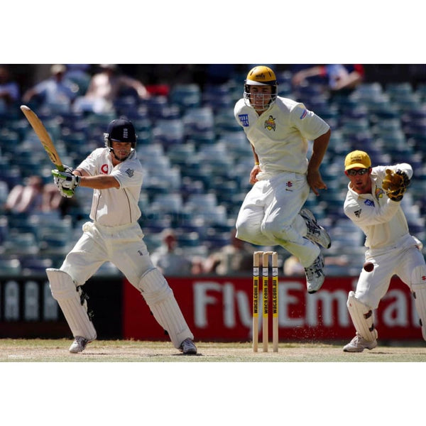 Luke Pomersbach jumps to avoid a shot from Ed Joyce during the cricket match between Engalnd and Australia at the WACA | TotalPoster