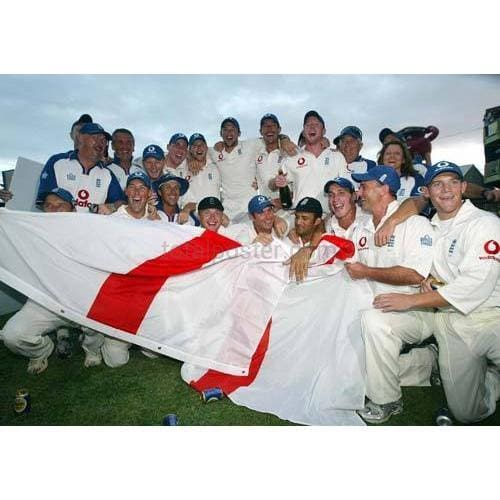 England players celebrate winning the test series after victory in the Third Test against the West Indies | TotalPoster