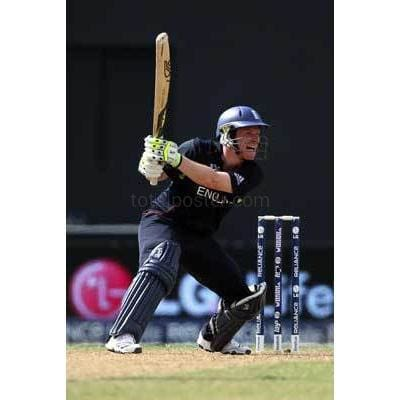 Eoin Morgan in action during the ICC T20 World Cup Group D match between West Indies and England at the Guyana National Stadium Cricket Ground | TotalPoster