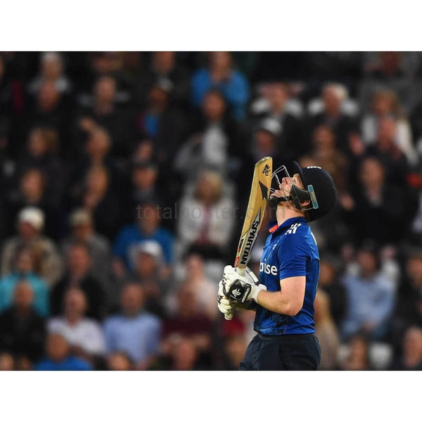 Eoin Morgan looks to the heavens as he reaches a century during the 4th ODI Royal London One-Day International between England and New Zealand at Trent Bridge | TotalPoster