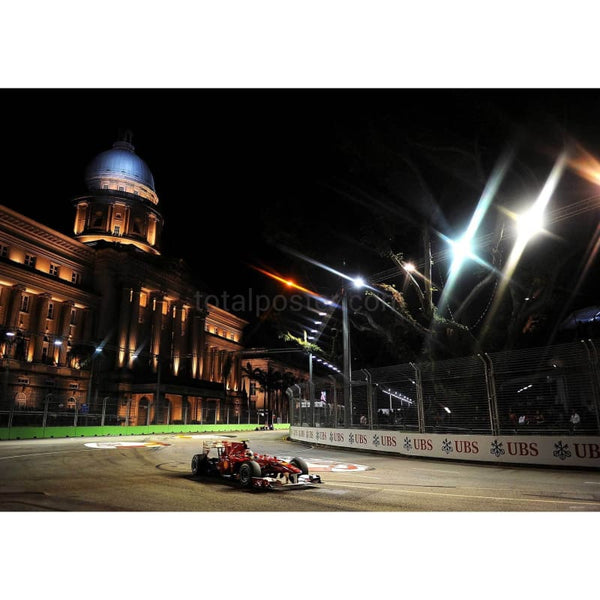 Fernando Alonso / Ferrari F1 on his way to winning the Singapore Formula One Grand Prix | TotalPoster