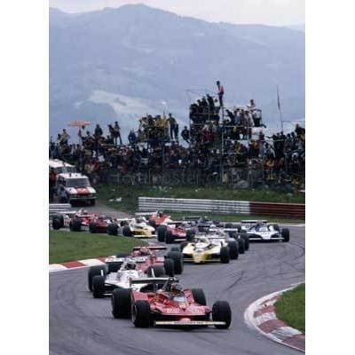 Gilles Villeneuve / Ferrari 312T4 Ferrari 3.0 B12 leads the field during the Grand Prix of Austria at the Osterreichring in Spielberg | TotalPoster