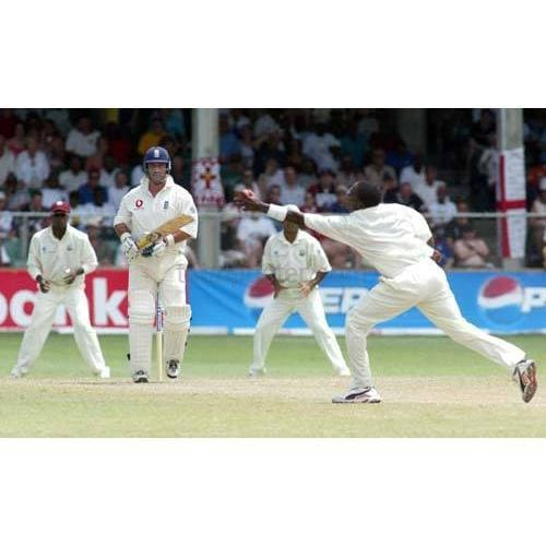 Graeme Thorpe has a shot stopped by Fidel Edwards during the Third Test between West Indies and England at the Kensington Oval - Bridgetown - Barbados | TotalPoster