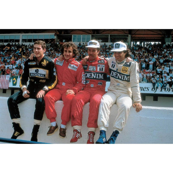 Greats of the 80s - Ayrton Senna, Alain Prost, Nigel Mansell and; Nelson Piquet on the Pit Wall during the Portugese F1 Grand Prix at Estoril  | TotalPoster