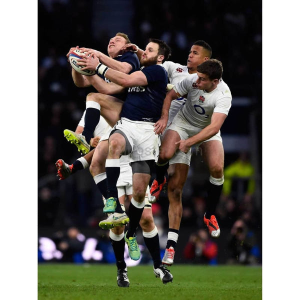 Greig Tonks of Scotland takes a high ball under pressure during the RBS Six Nations match between England and Scotland at Twickenham Stadium | TotalPoster