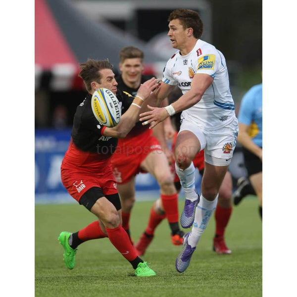 Henry Slade in action during the Aviva Premiership match between Saracens and Exeter Chiefs at Allianz Park | TotalPoster