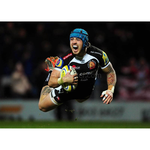 Jack Nowell dives over for his side's first try during the Aviva Premiership match between Exeter Chiefs and Gloucester Rugby at Sandy Park in Exeter | TotalPoster