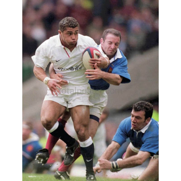 Jason Robinson in action during the England v France Six Nations TotalPoster