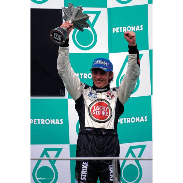 Jenson Button with the third place trophy after the Malaysian Grand Prix | TotalPoster