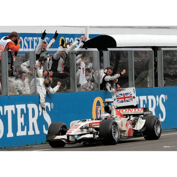 Jenson Button / Honda F1 takes the chequered flag to win his first ever F1 Grand Prix after victory in the Hungarian Grand Prix | TotalPoster