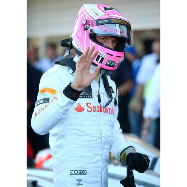 Jenson Button of Great Britain and McLaren waves in Parc Ferme after qualifying ahead of the Russian Formula One Grand Prix at Sochi Autodrom Russia | TotalPoster