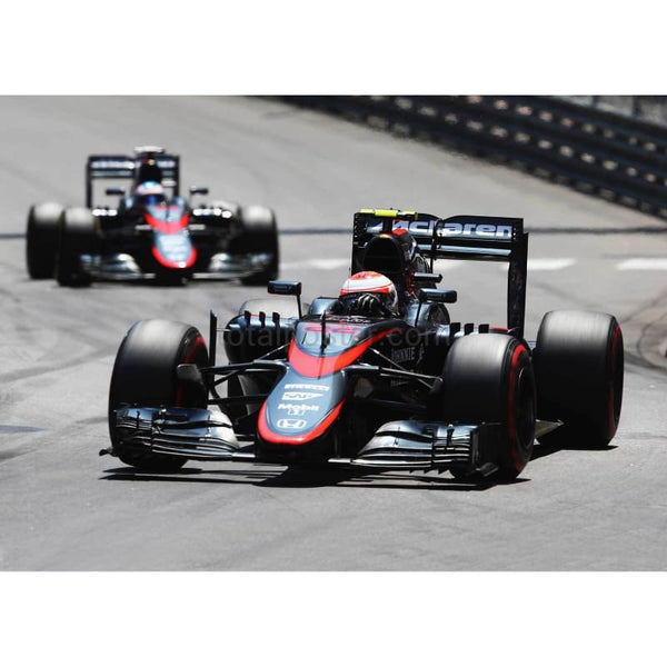 Jenson Button / McLaren Honda leads from team mate Fernando Alonso on his way to scoring the first points for his team during the Monaco Formula One Grand Prix at Circuit de Monaco in Monte-Carlo | TotalPoster