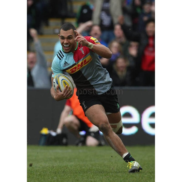 Joe Marchant celebrates scoring a try during the Aviva Premiership match between Harlequins and Newcastle Falcons at Twickenham Stoop | TotalPoster