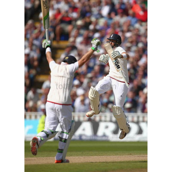 Joe Root and Ian Bell celebrate after scoring the winning runs in the 3rd Investec Ashes Test match between England and Australia at Edgbaston | TotalPoster