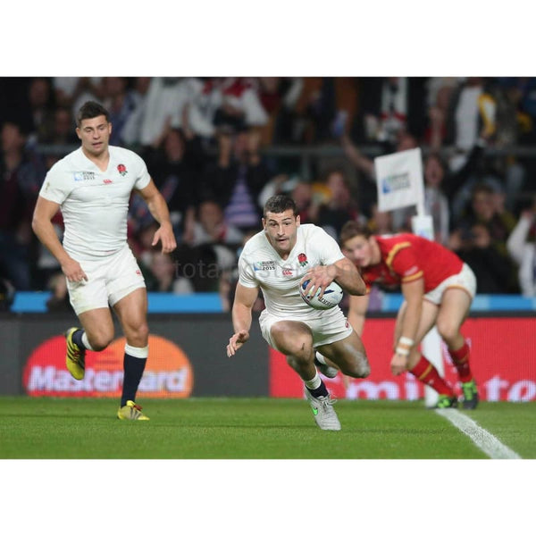 Jonny May scores a try during the 2015 Rugby World Cup Pool A match between England and Wales at Twickenham Stadium | TotalPoster