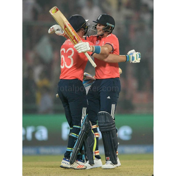 Jos Buttler and Joe Root celebrate winning the ICC World Twenty20 India 2016 Semi Final match between England and New Zealand at Feroz Shah Kotla Ground in Delhi | TotalPoster