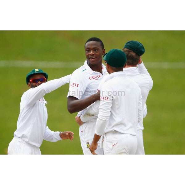 Kagiso Rabada celebrates taking the wicket of Jonny Bairstow during the 4th Test at Supersport Park in Centurion | TotalPoster