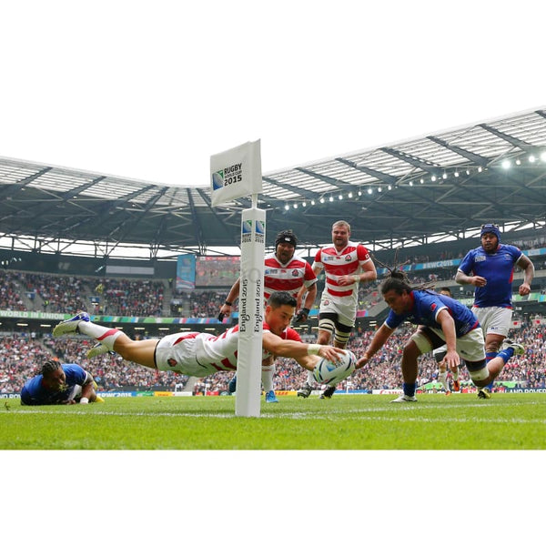 Kihito Yamada scores his teams second try during the 2015 Rugby World Cup Pool B match between Samoa and Japan at Stadium mk | TotalPoster