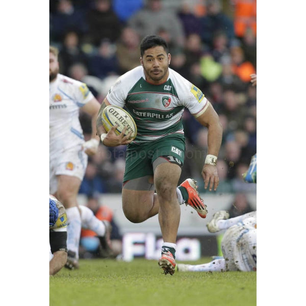 Manu Tuilagi in action during the Aviva Premiership match between Leicester Tigers and Exeter Chiefs at Welford Road stadium | TotalPoster