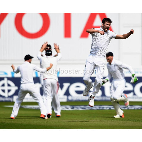 Mark Wood celebrates taking the final wicket to win the Ashes and victory in the 4th Investec Ashes Test match between England and Australia at Trent Bridge | TotalPoster
