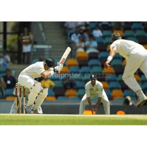 Matthew Hayden ducks a high delivery during day four of the first Ashes Test at the Gabba in Brisbane | TotalPoster
