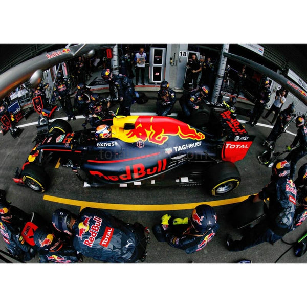 Max Verstappen / Red Bull-TAG Heuer makes a pit stop for new tyres during the F1 Grand Prix of Belgium at Circuit de Spa-Francorchamps | TotalPoster