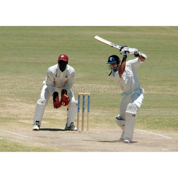 Michael Vaughan drives a ball to the boundary during the Fourth Test between England and the West Indies in Antigua | TotalPoster