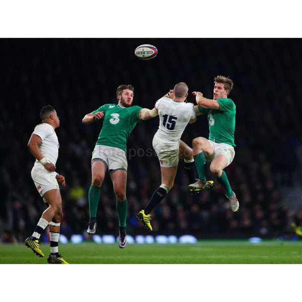 Mike Brown competes for the ball with Stuart McCloskey and Andrew Trimble during the RBS Six Nations match between England and Ireland at Twickenham Stadium | TotalPoster