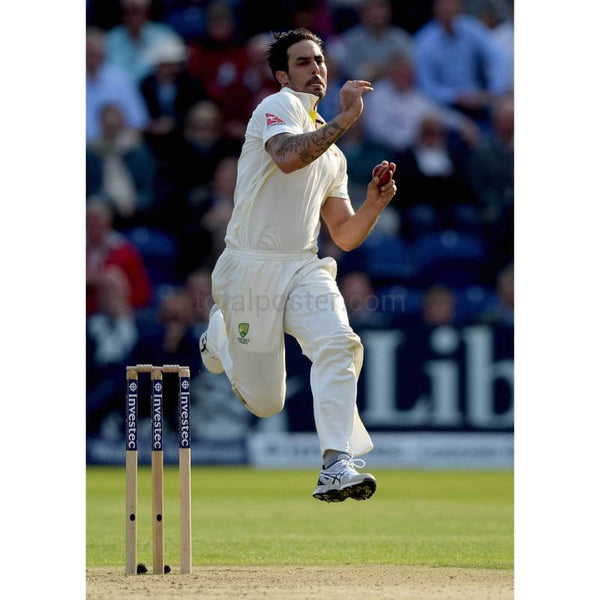 Mitchell Johnson bowls during day one of the 1st Investec Ashes Test match between England and Australia at SWALEC Stadium in Cardiff | TotalPoster