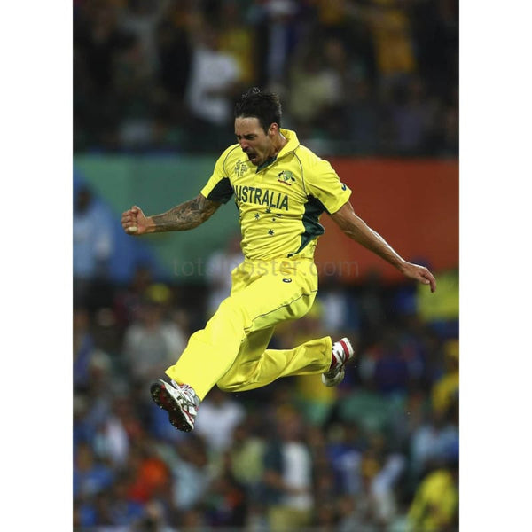 Mitchell Johnson of Australia celebrates after taking the wicket of Rohit Sharma of India during the 2015 Cricket World Cup Semi Final match between Australia and India at Sydney Cricket Ground | TotalPoster