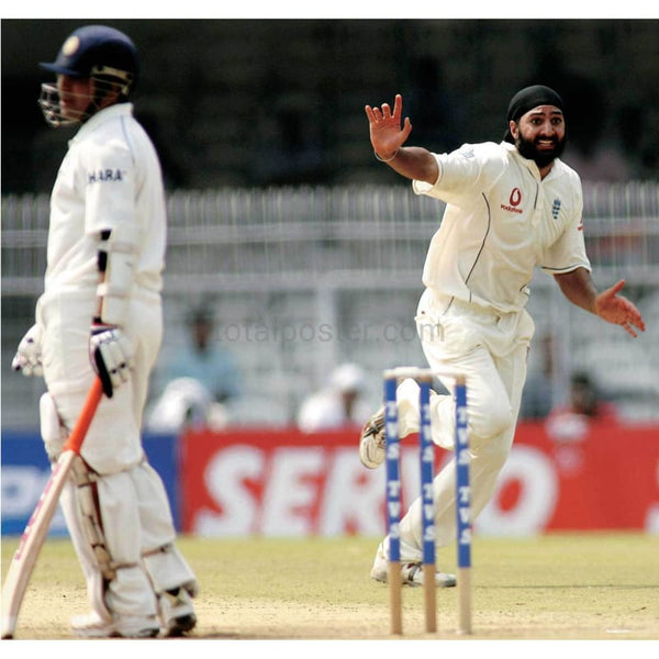 Monty Panesar celebrates his first test wicket during the India v England First Test - Nagpur, India | TotalPoster