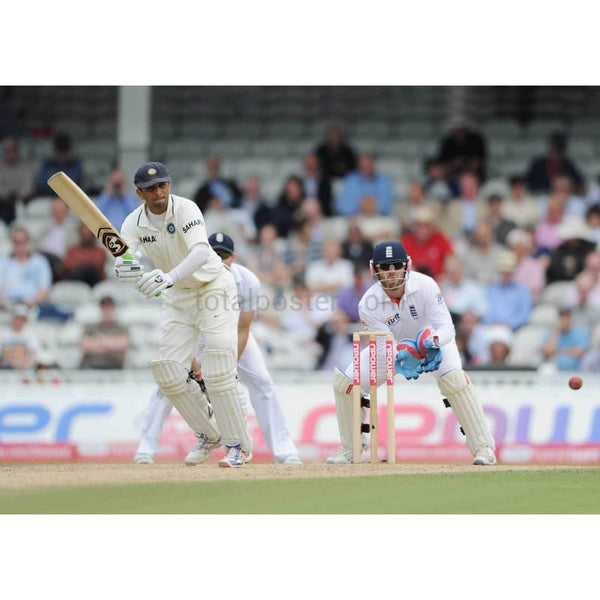Rahul Dravid hits out watched by wicketkeeper Matt Prior during day four of the 4th npower Test Match between England and India at The Kia Oval | TotalPoster