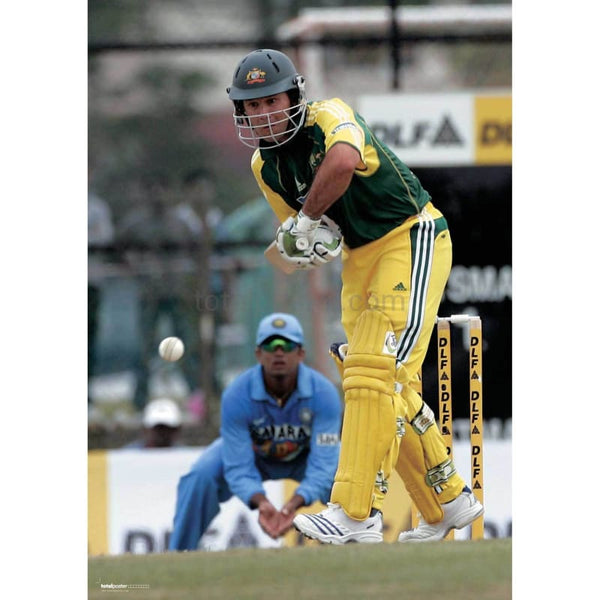 Ricky Ponting hits the ball during the tri-series Cricket tournament between Australia and India | TotalPoster