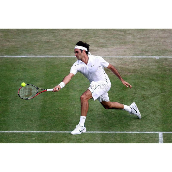 Roger Federer in action during a Wimbledon men's singles match TotalPoster