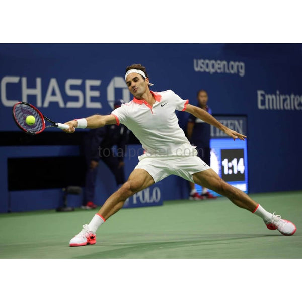 Roger Federer hits a forehand during the US Open mens singles TotalPoster
