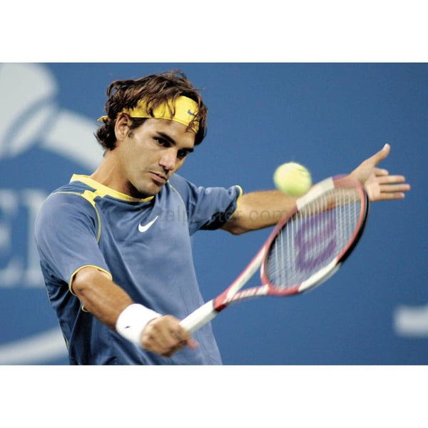 Roger Federer in action during the quarter finals of the US Open TotalPoster