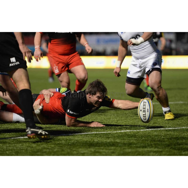 Schalk Brits stretches to reach the try line to score a try during the Aviva Premiership match between Saracens and Bath Rugby at Allianz Park | TotalPoster