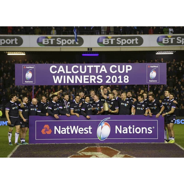 Scotland celebrates with the Calcutta Cup after victory in Six Nations TotalPoster
