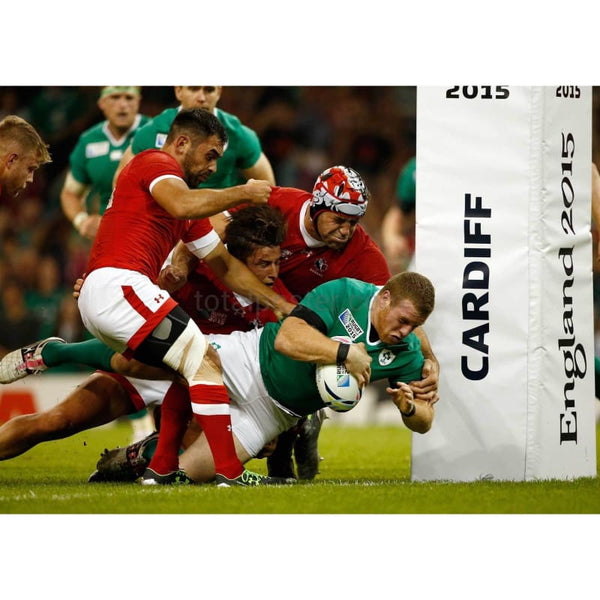 Sean Cronin scores the fifth try of the game during the 2015 Rugby World Cup Pool D match between Ireland and Canada at the Millennium Stadium | TotalPoster