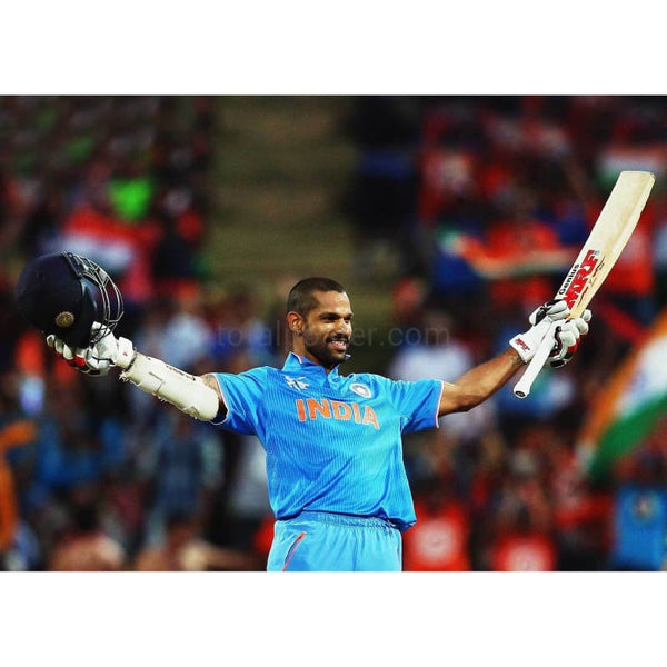 Shikhar Dhawan of India celebrates after scoring a century during the 2015 ICC Cricket World Cup match between Ireland and India at Seddon Park in Hamilton, New Zealand | TotalPoster