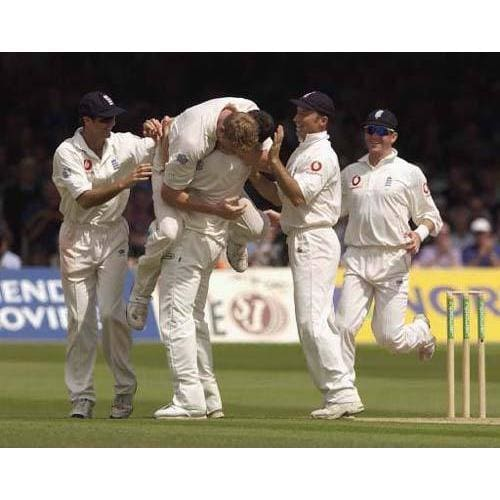 Simon Jones celebrates getting the wicket of Ajay Ratra of India and his first international test wicket during the third day of the 1st npower test match between England and India at Lords | TotalPoster