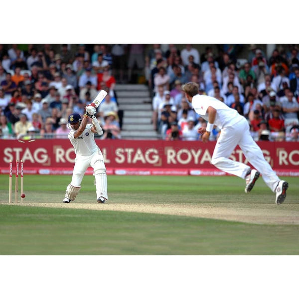 Sreesanth is bowled by Stuart Broad to win the second npower Test match between England and India at Trent Bridge | TotalPoster